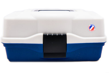 Opbergbox Tacklebox populaire 2 tray metaal blauw - Elite
