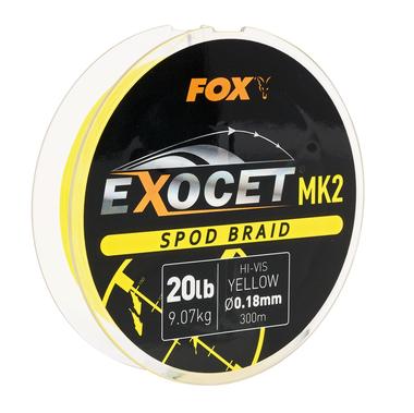 Lijn gevlochten Exocet MK2 Spod Braid 0.18mm / 20lb X 300m - yellow - Fox Carp
